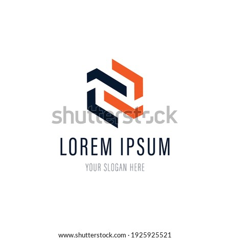 Abstract letter N logo for business company. Corporate identity design element. Puzzle solution, finance, bank logotype idea. Network integrate, technology mix concept. Color Vector connect icon