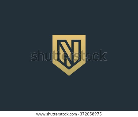 Abstract letter N shield logo design template. Premium nominal monogram business sign. Universal foundation vector icon.