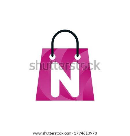 Abstract letter N with shopping bag. Abstract shopping n logo. Online n   letter shop logo. letter shopping logo.Shopping bag Foto stock ©