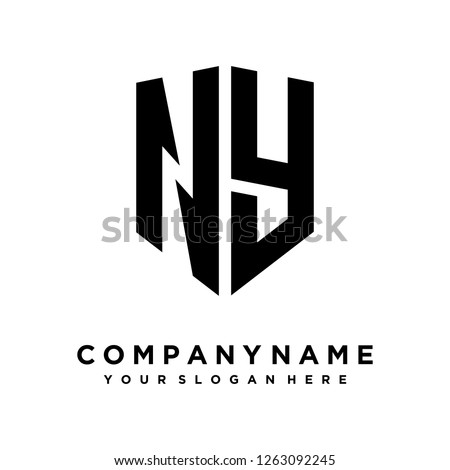 Abstract letter N Y shield logo design template Stok fotoğraf ©