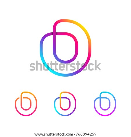 Abstract Letter O Line Monogram Colorful loops logotype, Circle shape, swirl spiral infinity logo symbol, Technology and digital connection