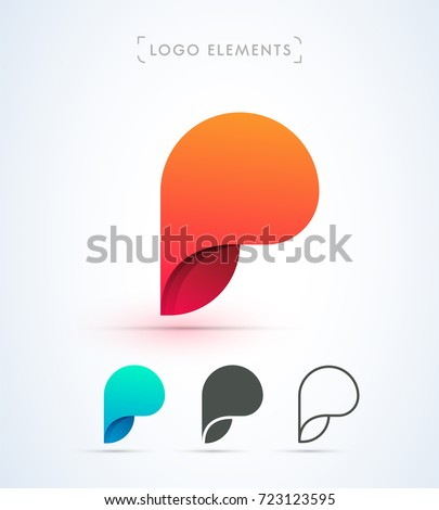 abstract letter p vector logo