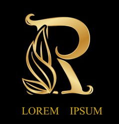 Abstract letter r logo design,Gold, beauty industry and fashion logo.cosmetics business, gold nature logo abstract design and leaf