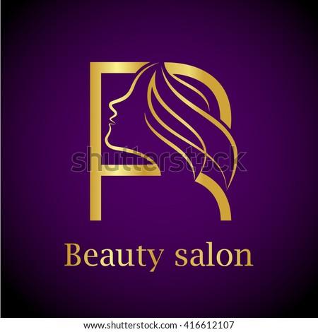 abstract letter r logogold beauty salon logo design template