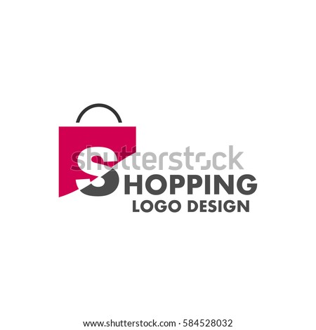 Abstract letter S on shopping bag. Abstract shopping logo. Online shop logo