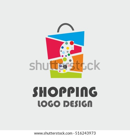 Abstract letter S with colourful bubbles on shopping bag. Abstract shopping logo. Online shop logo.
