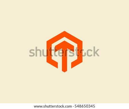 Abstract letter T arrow vector logotype. Line hexagon creative simple logo design template.  Universal geometric symbol font icon.