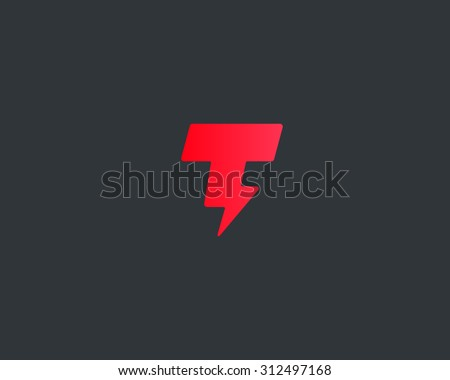 Abstract letter T logo. Dynamic unusual font. Universal fast speed fire moving quick energy icon. Flash vector logotype. Rapid thunderbolt  superhero t shirt print, apparel fashion tee symbol.  Stock fotó ©