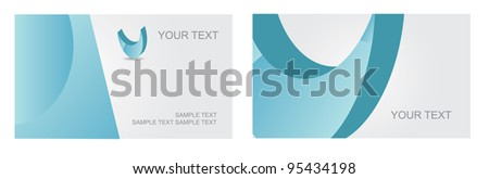 Abstract Letter U Logo Symbol Icon Business Card Set EPS 8 vector, grouped for easy editing. No open shapes or paths. - stock vector