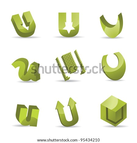 Abstract Letter U Logo Symbol Icon Business Card Set EPS 8 vector, grouped for easy editing. No open shapes or paths.