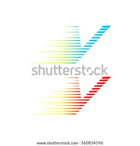 abstract letter v logo fast
