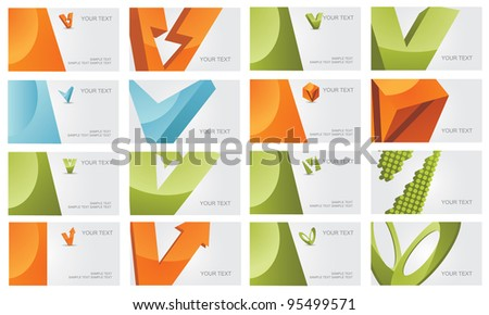 Abstract Letter V Logo Symbol Icon Business Card Set EPS 8 vector, grouped for easy editing. No open shapes or paths.