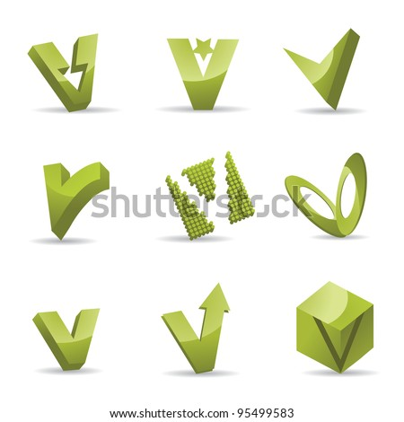 Abstract Letter V Logo Symbol Icon Set EPS 8 vector, grouped for easy editing. No open shapes or paths.