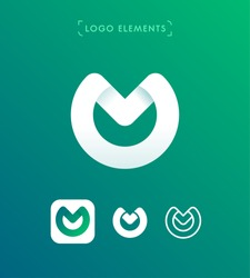 Abstract letter W, M, O origami style logo template