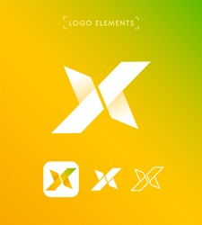 Abstract letter X origami style logo template. Extreme sports sign