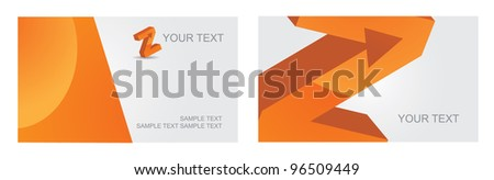 Abstract Letter Z alphabet symbol icon business card set EPS 8 vector, grouped for easy editing. No open shapes or paths. - stock vector