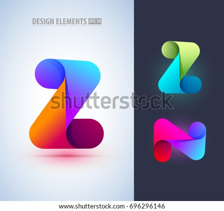abstract letter z and n icon in