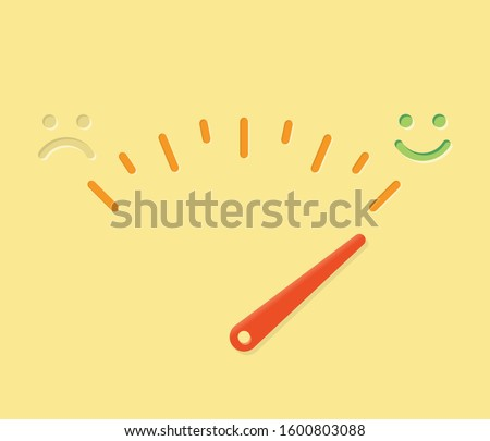 Abstract life happiness meter illustration with sad and happy smile and arrow. Idea - happiness-o-meter, feeling test, moods, sadness and depression, relationships, life quality etc.  Foto stock ©