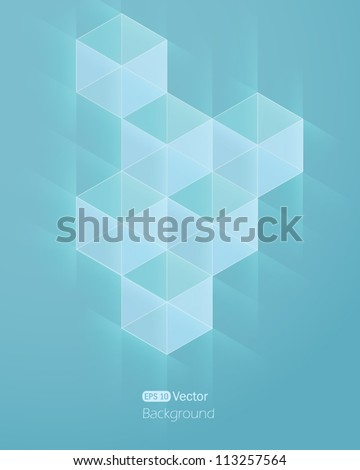 Abstract light blue background with cube. Vector illustration