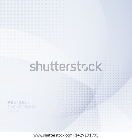 Abstract light blue circles overlapping with halftone on white background. Geometric template design use for cover brochure, poster, banner web, leaflet, flyer, etc. Vector illustration #1429191995