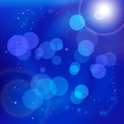 Abstract light bokeh spots on smooth blue swirly background with bright lens flare. Underwater or space scene. Vector illustration