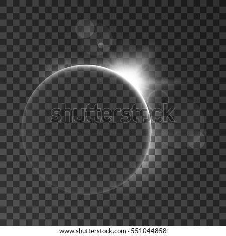 Abstract light effect with planet and shining sun. Space background. Isolated on black transparent background. Vector illustration, eps 10.