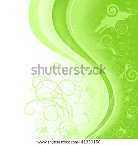 abstract light green background with wavy line and pattern from ornament of the spirals