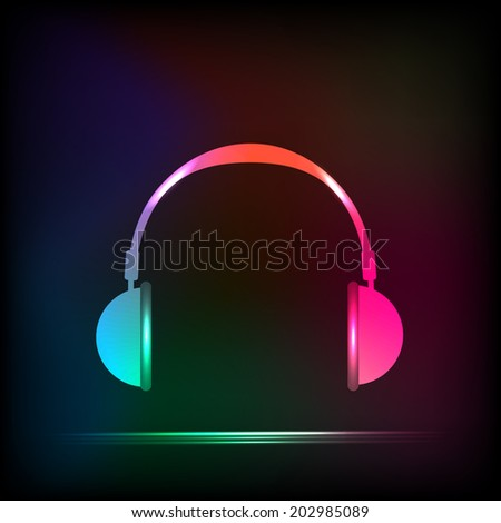 abstract light neon headphones