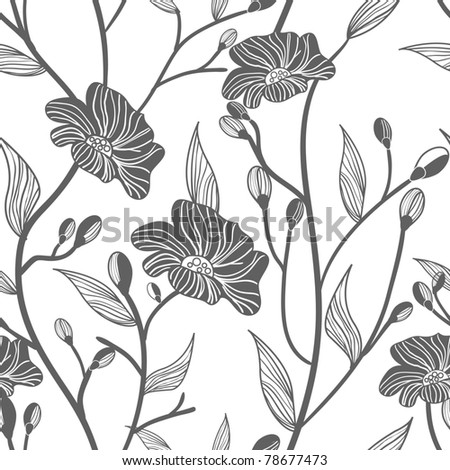 Abstract light vector  background with drawing gray flowers