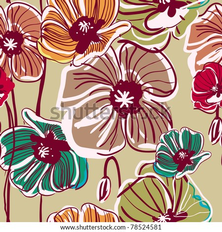 Abstract light vector  background with drawing multicolor poppy