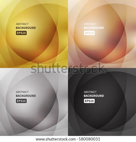 Abstract light vector backgrounds set. Gold, silver, bronze, black colors. Vector design EPS10