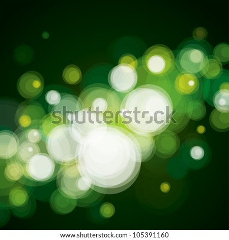 Abstract lighting background, bokeh green.