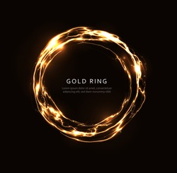 Abstract lightning ring with golden shine, glowing fantasy disc, gold magic circle, energy ball, round rotating frame template for flyer, banner and poster, isolated graphic vector illustration