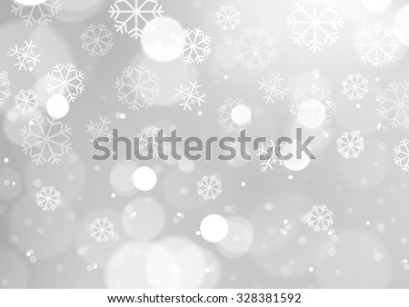 abstract lights with snowflakes