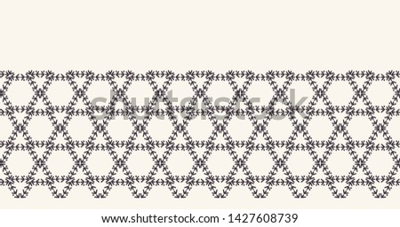 abstract line art,honeycomb,hexagonal,hexagon,running stitch,embroidery,seamless vector border,endless band,masking washi tape,repeating bordure,banner ribbon,edge trim,continuous edging,trimming,grid