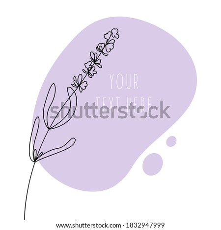 Abstract line art leaf. Lavander contour drawing. Minimal art leaf on abstract shapes backgroud. Modern minimal black and white botanical illustration. Background template with space for text. Foto stock ©