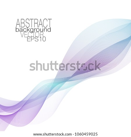 Abstract line art wave of purple, blue, cyan. Modern wavy background. Vector vibrant elongated waving pattern. Layout for brochures, invitations, posters, leaflets, flyer, book, presentation. EPS10