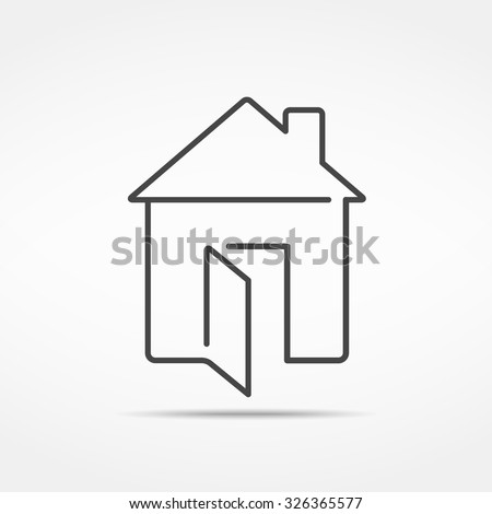 Abstract line house icon, vector eps10 illustration