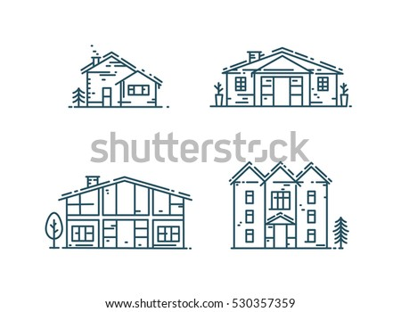 abstract line houses icon set