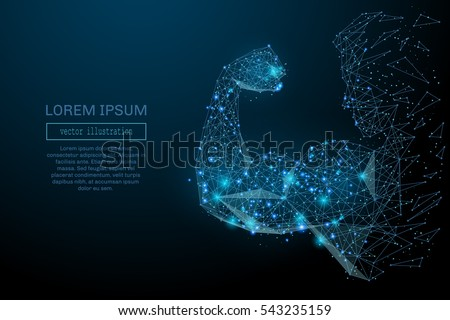 Abstract line mans hand. Biceps made of lines and points. Background Athletics. Blue structure style vector illustration