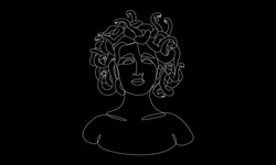 Abstract line Medusa Gorgon portrait. Minimal one line female face, modern art for posters, story, tattoo. Vector illustration