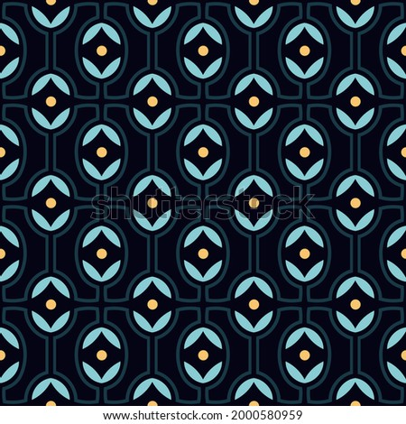 Abstract line shapes common geometric motif pattern continuous minimal background. Modern lux fabric design textile swatch, bandana, silk scarf, ladies dress, man shirt, swimwear all over print block. Photo stock ©