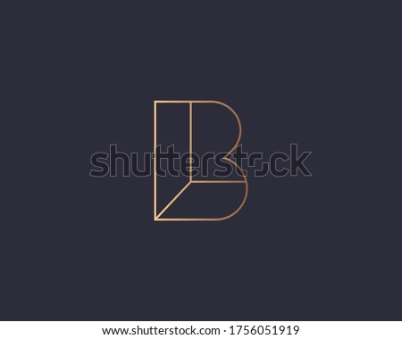 Abstract linear letter B logo icon design modern minimal style illustration. Premium vector line emblem sign symbol mark logotype Stock fotó ©