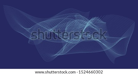 Abstract linear linear cyan vector illustration on dark blue background