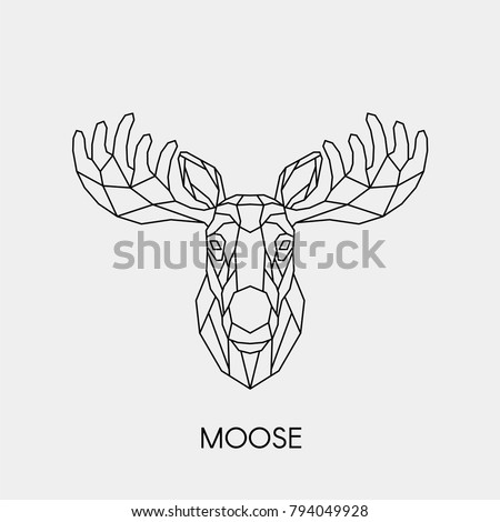 Abstract linear moose head. Vector. Geometric polygon animal.