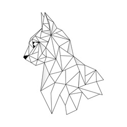 Abstract linear polygonal head of a cat. Contour for tattoo, logo, emblem and design element.