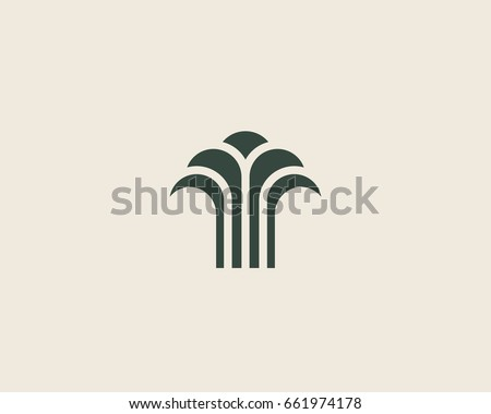 Abstract linear vector tree fountain building finance logotype. Universal luxury palm harvest park spa beach logo