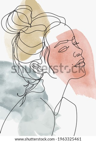 abstract linear woman face