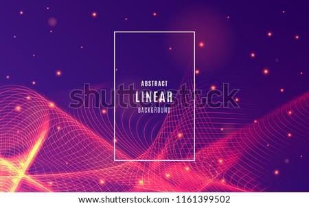 Abstract lines background with particles of sparks. Abstract sound waves with Slow motion effect. Geometric Wallpaper design. Backdrop for website, presentation, poster, flyer. Vector illustration