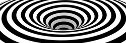 Abstract Lines Design. Black and White Hypnotic Twirl Striped Background. 3D Vortex Hole Optical Illusion. Vector Illustration.